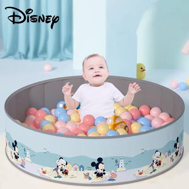 【Disney 迪士尼】米奇 米妮 輕便攜帶折疊無毒兒童海洋球池圍欄 100x 30cm + 馬卡龍色環保海洋球100顆