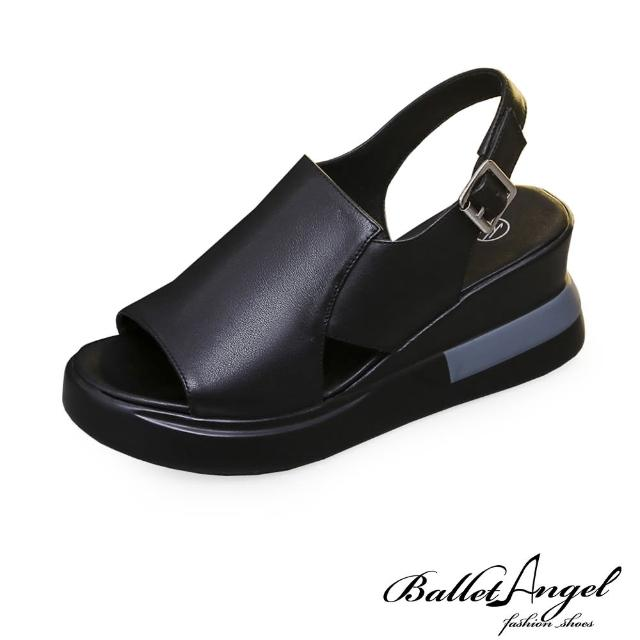 【BalletAngel】涼鞋 清新氣息不規則剪裁楔型涼鞋(黑)