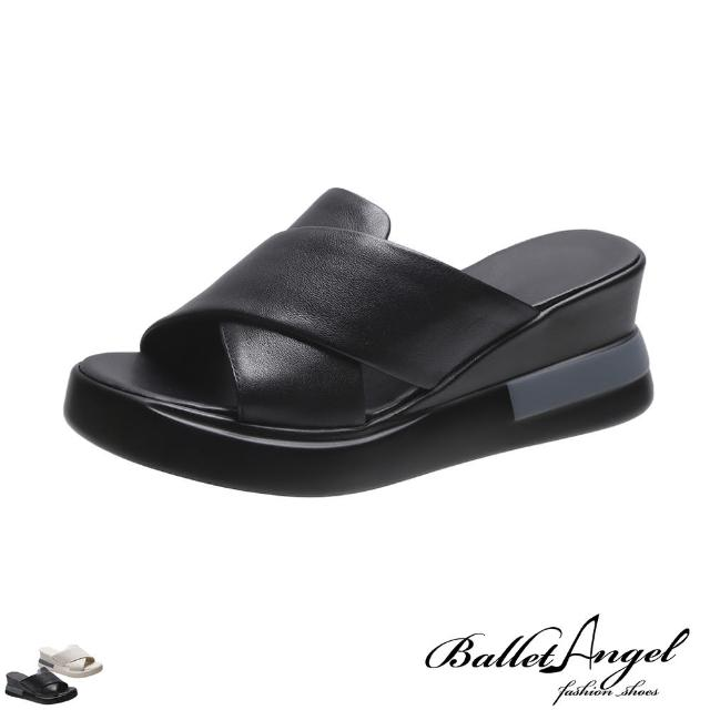 【BalletAngel】拖鞋 好感率真寬版交叉楔型涼拖鞋(共兩色)