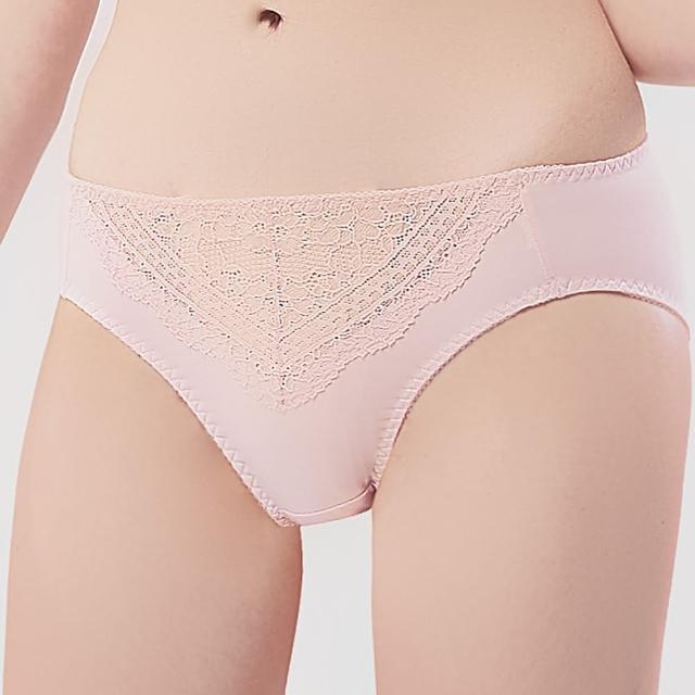 【Swear 思薇爾】佛鈴花戀系列M-XXL蕾絲中腰三角女內褲(樂陶粉)