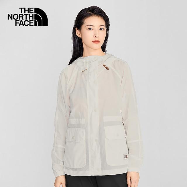 【The North Face】The North Face北面女款白色防風防潑水收腰設計連帽外套|5AY9N3N