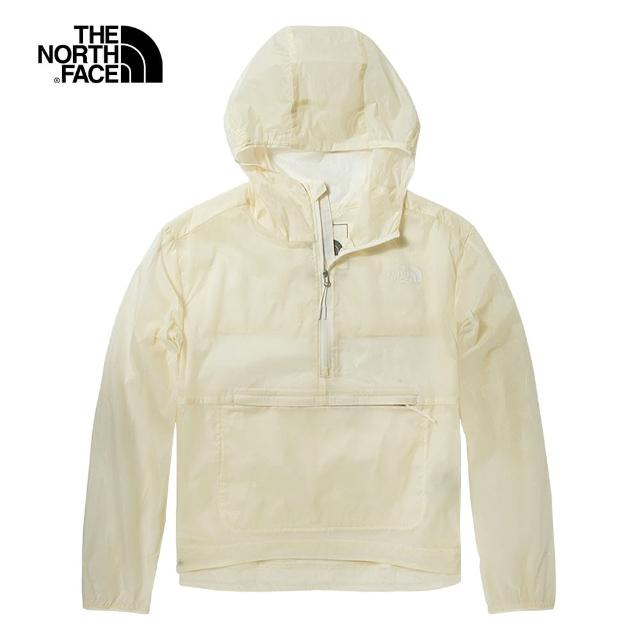【The North Face】The North Face北面女款米白色防風防潑水可打包連帽外套|5B3ON3N