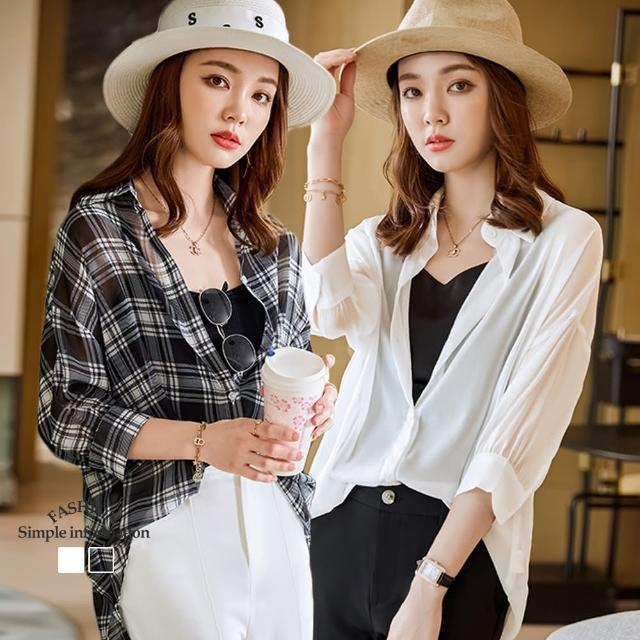 【Alishia】薄款復古寬鬆七分袖襯衫 M-3XL(現+預 白色 / 格子)