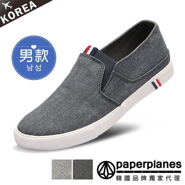 【Paperplanes】韓國空運。男款三色標拼接素面帆布懶人休閒鞋-正常版型(7-191三色/現+預)