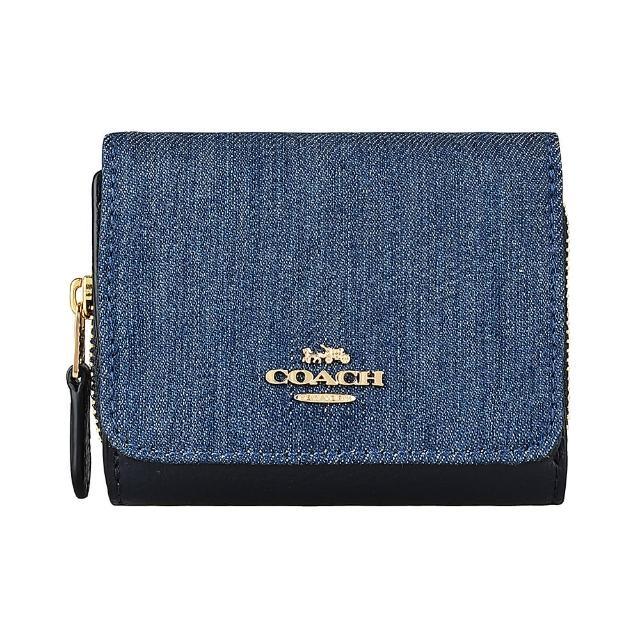 【COACH】COACH 金字LOGO丹寧牛皮3卡拉鍊扣式短夾(丹寧藍x黑)