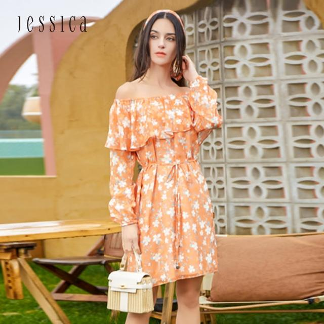 【JESSICA】甜美浪漫荷葉領長袖小碎花雪紡洋裝(橘色)