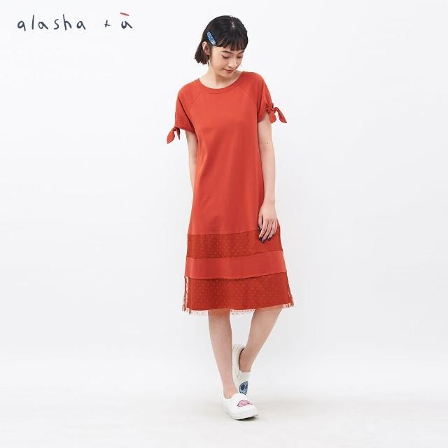 【a la sha+a】小圓點網紗綁帶袖洋裝