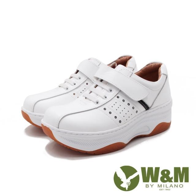 【W&M】女 FIT健走魔鬼氈增高休閒鞋 女鞋(白)