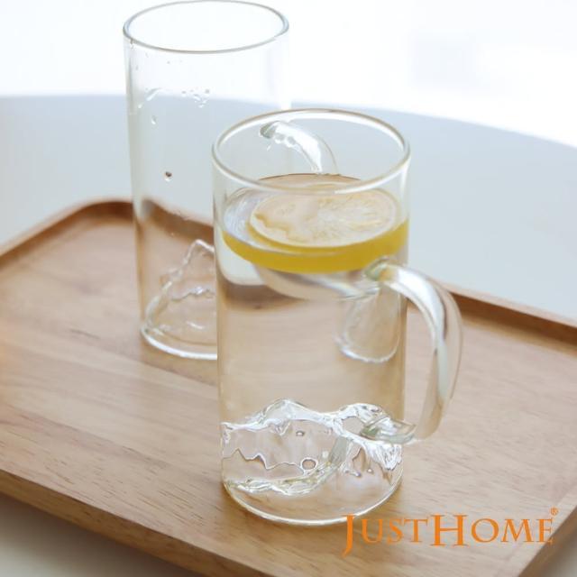 【Just Home】Just Home自然山形直深耐熱玻璃馬克杯320ml4入組(玻璃杯、耐熱玻璃)
