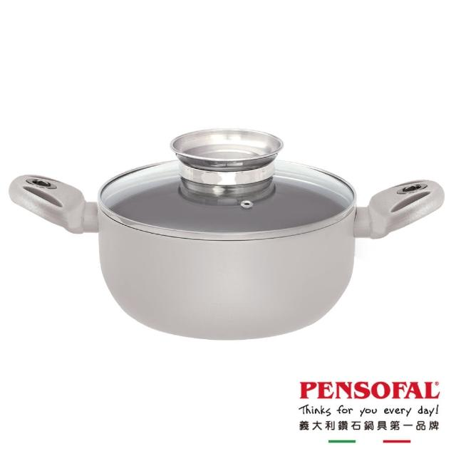 【Pensofal 潘師傅】附蓋雙耳平底鍋/湯鍋(24公分)