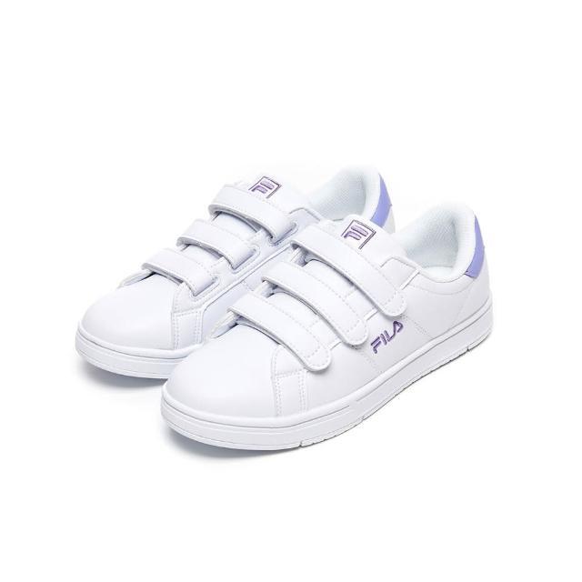 【FILA】女鞋 休閒鞋 女魔鬼氈板鞋運動鞋-白/紫色(5-C618V-109)