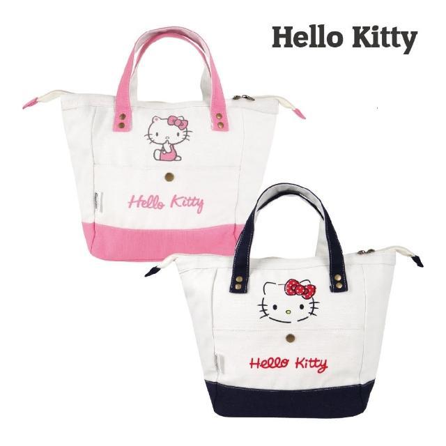 【SANRIO 三麗鷗】Hello Kitty帆布保溫保冷袋-粉/藏青(36x25x14cm 質感滿滿)