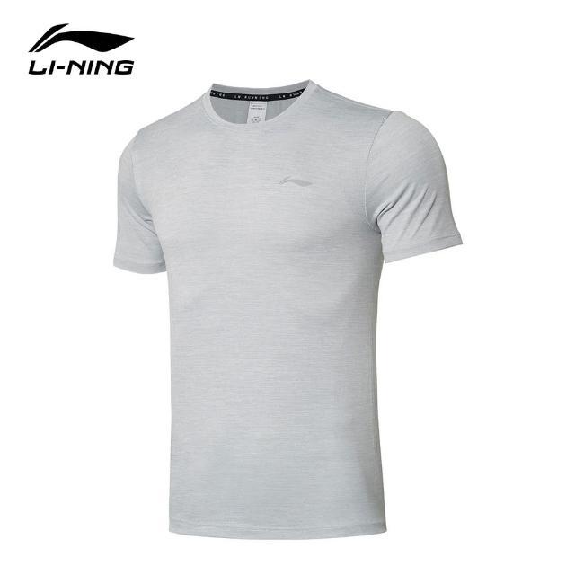 【LI-NING 李寧】跑步系列男子反光速乾涼爽短袖T恤 標準白/硬幣灰(ATSR257-1)