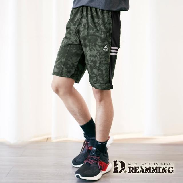 【Dreamming】個性渲染輕薄鬆緊休閒短褲 彈力 抽繩(共二色)