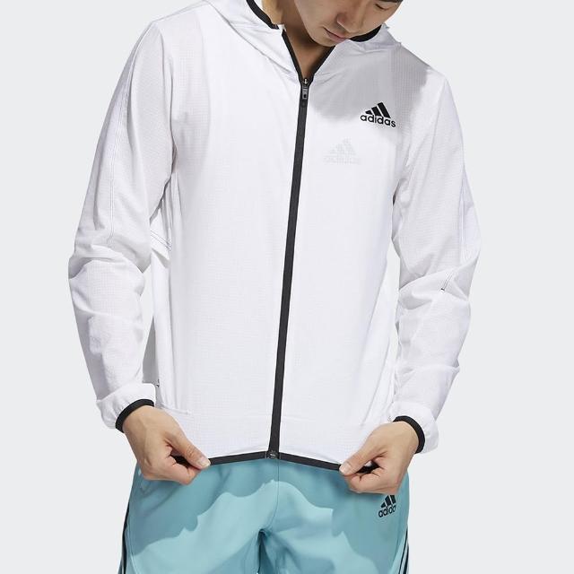 【adidas 愛迪達】外套 男款 連帽上衣 運動 慢跑 H.RDY WARRI JKT 白 GT8261 亞洲尺寸