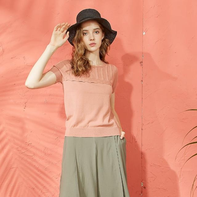 【CUMAR】氣質花邊造型-女短袖針織衫(三色/魅力商品/版型適中)