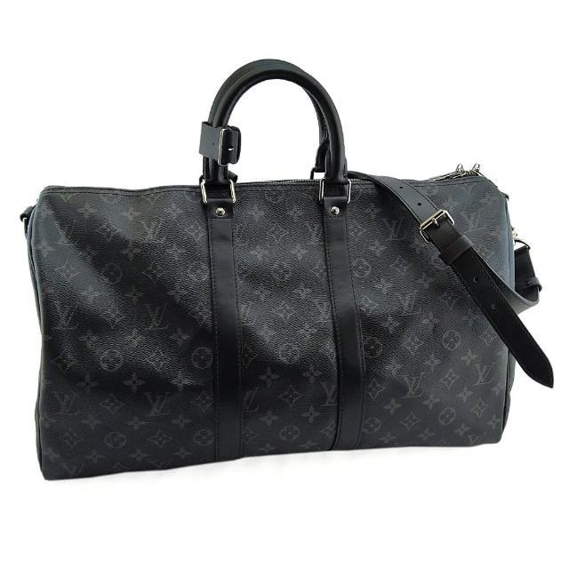 【Louis Vuitton 路易威登】黑灰經典字紋帆布手提斜背肩背兩用Keepall 45旅行袋(展示品)