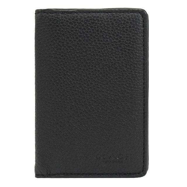 【COACH】經典烙印LOGO皮革對折信用卡名片夾(黑)