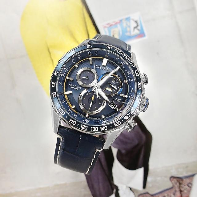 【CITIZEN 星辰】光動能 萬年曆 電波錶 藍寶石水晶玻璃 日期 壓紋小牛皮手錶 藍色 43mm(CB5918-02L)