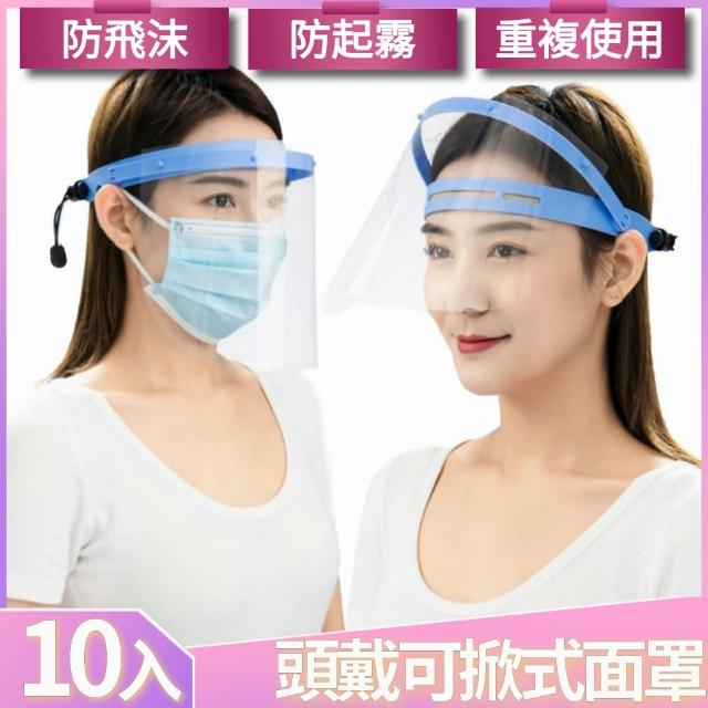 【I.Dear】成人防飛沫噴濺防霧專用頭戴式全臉透明防護面罩檔板(超值十入組/防疫面罩)