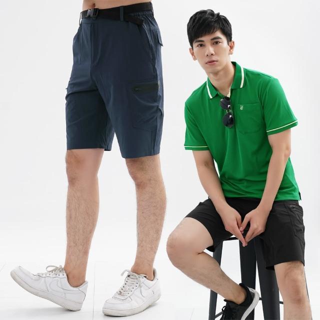 【遊遍天下】男款彈性防潑薄款抗UV休閒短褲休閒褲(M-5L贈腰帶)