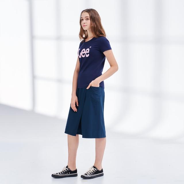 【Lee】薄款鬆緊 側口袋 女牛仔寬褲裙-沉靜藍