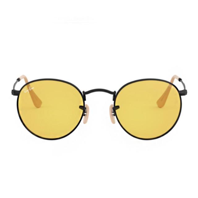 【RayBan 雷朋】ROUNDSOLID款黃色鏡片(3447-90664A)