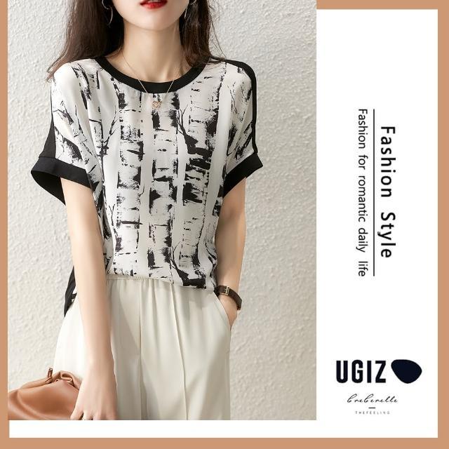 【UGIZ】修身個性百搭潑墨圓領造型上衣(M-XL)