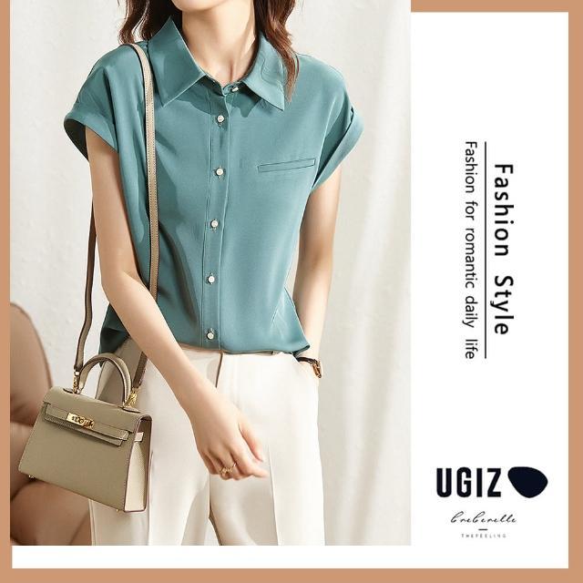【UGIZ】修身氣質百搭時尚純色翻領造型上衣(M-XL)