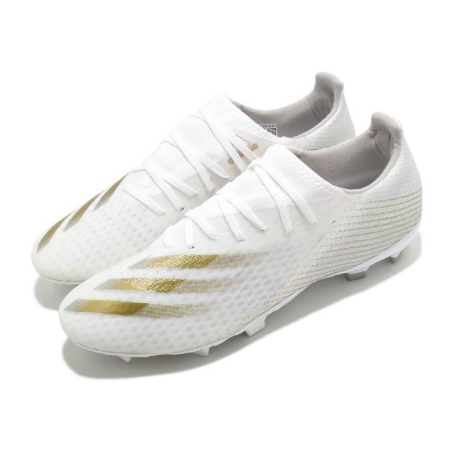 【adidas 愛迪達】足球鞋 X Ghosted.3 FG 襪套式 男鞋 愛迪達 偏硬場地 短草場地 釘鞋 白 金(EG8193)