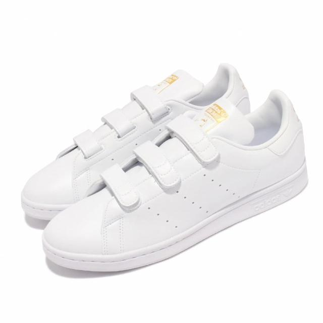 【adidas 愛迪達】休閒鞋 Stan Smith 經典 運動 男女鞋 愛迪達 魔鬼氈 老人頭 情侶穿搭 皮革 白 金(FX5508)