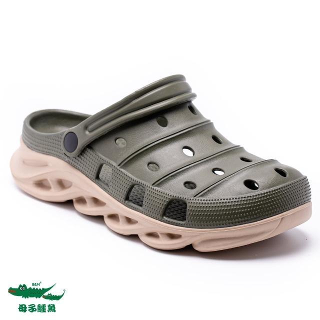 【母子鱷魚】撞色水陸刀鋒布希鞋-軍綠