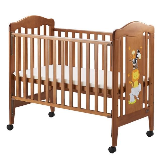 【Sweet Baby】快樂動物中床-柚木色(附AZZURRA牛仔歐式寢具組-五件式尺寸M)