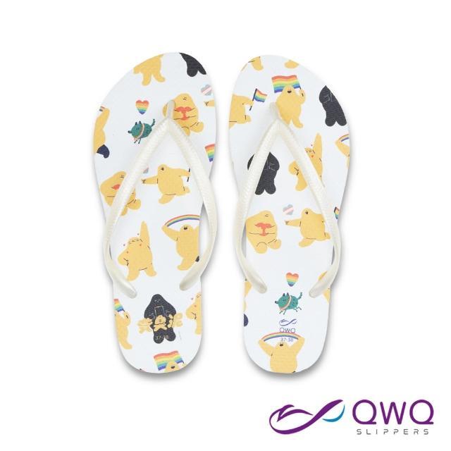 【QWQ】女款防滑夾腳拖鞋 黃臭泥人字拖鞋 海灘涼拖鞋 彩虹 牛奶白(AIHC00212)