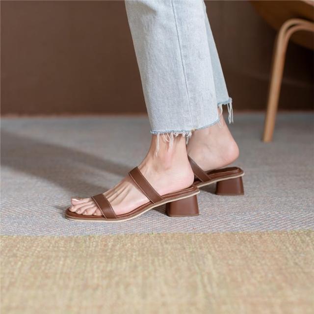 【WYPEX】真皮露趾一字帶粗跟涼鞋 高跟拖鞋(小腳女孩也可穿)