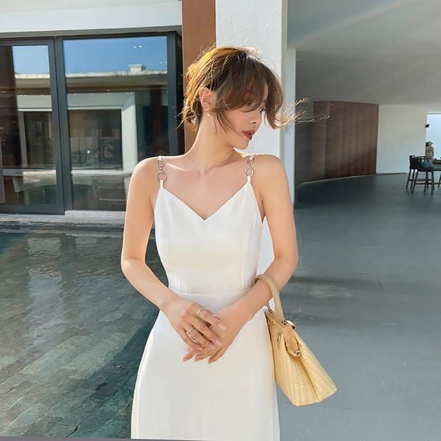 【女神婚紗禮服店】仙氣飄飄白色V領無袖吊帶洋裝 提貨券(白色洋裝 V領洋裝)