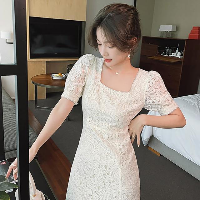 【女神婚紗禮服店】簡約杏色蕾絲方領短袖洋裝 提貨券(杏色洋裝 蕾絲洋裝)