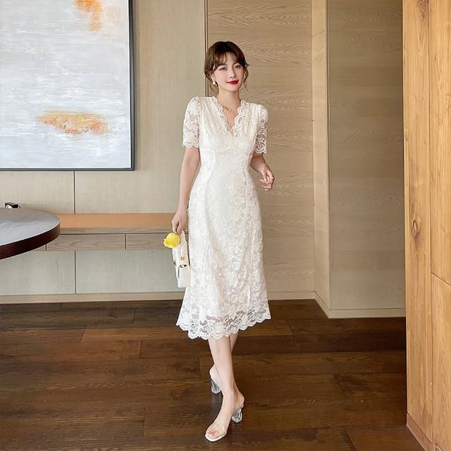 【女神婚紗禮服店】杏色蕾絲V領洋裝 提貨券(長短袖可選 蕾絲洋裝)