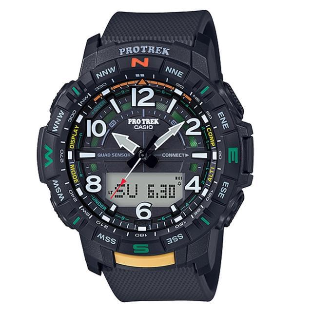 【CASIO 卡西歐】PRO TREK 系列全自動LED戶外登山錶-黑x57mm(PRT-B50-1)