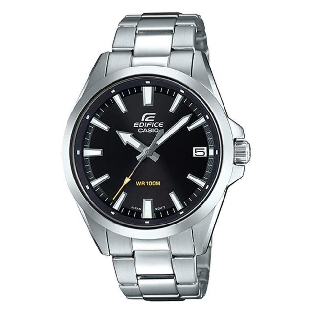 【CASIO 卡西歐】EDIFICE 日期顯示不鏽鋼錶帶腕錶-黑x48mm(EFV-100D-1A)
