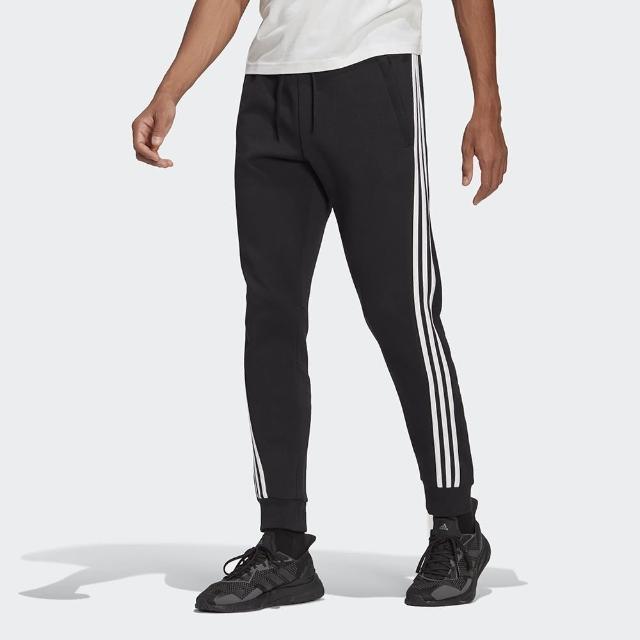 【adidas 愛迪達】Adidas 3-Stripes 男款黑色基本三線束口長褲 GM6462