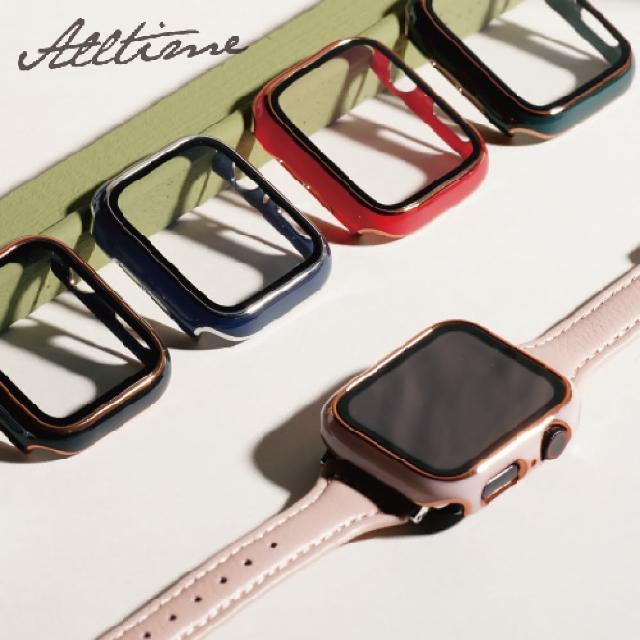 【ALL TIME 完全計時】Apple Watch S6/SE/5/4 38mm 鍅瑯風鋼化膜一體錶殼(Apple watch手錶保護殼)