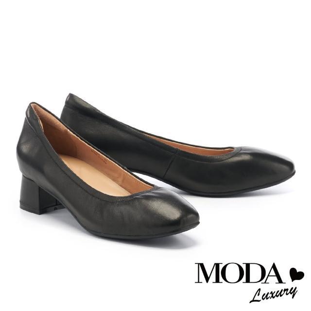 【MODA Luxury】極簡全真皮方頭粗高跟鞋(黑)