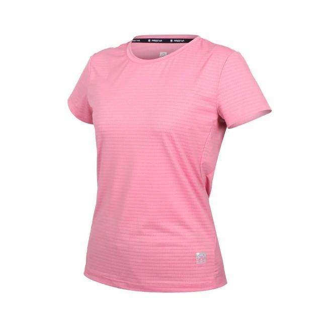 【FIRESTAR】女彈性機能圓領短袖T恤-運動 慢跑 路跑 涼感 上衣 反光 粉紅(DL162-43)