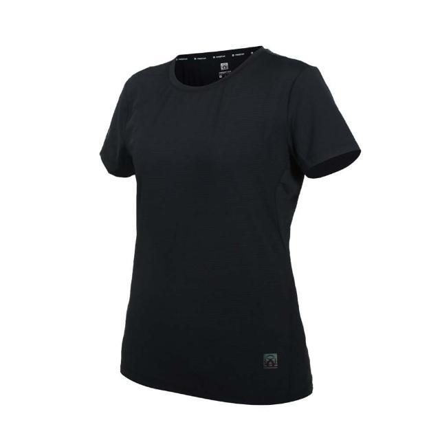 【FIRESTAR】女彈性機能圓領短袖T恤-運動 慢跑 路跑 涼感 上衣 炫彩反光 黑(DL161-10)