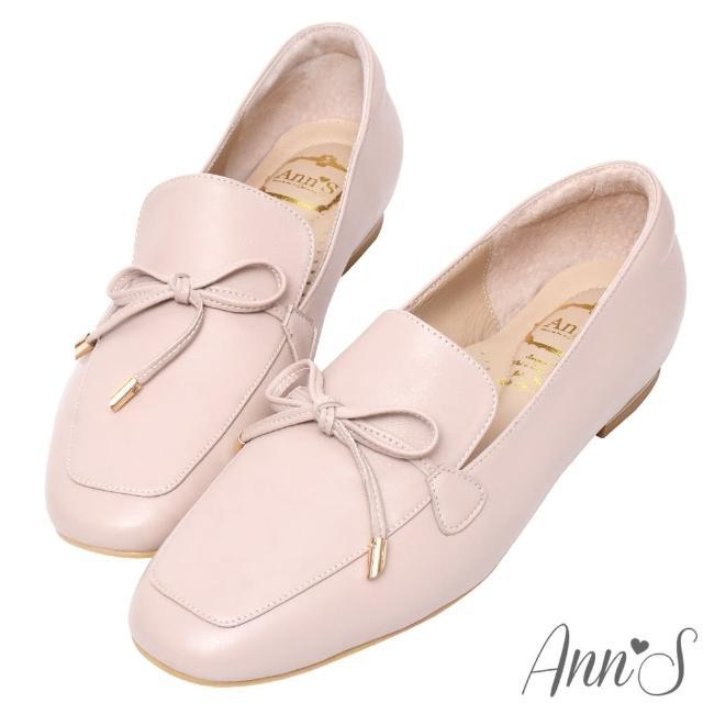 【Ann'S】散發小清新-蝴蝶結柔軟羊皮金釦平底紳士鞋(粉)