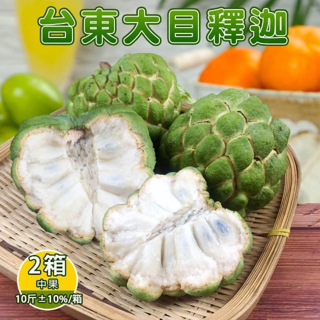 【產地直送】台東香甜好吃大目釋迦10斤12-13顆(x2箱)