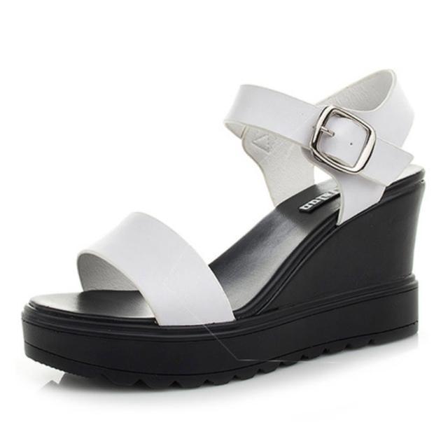 【Taroko】黑白配色牛皮坡跟厚底涼鞋(2色可選)