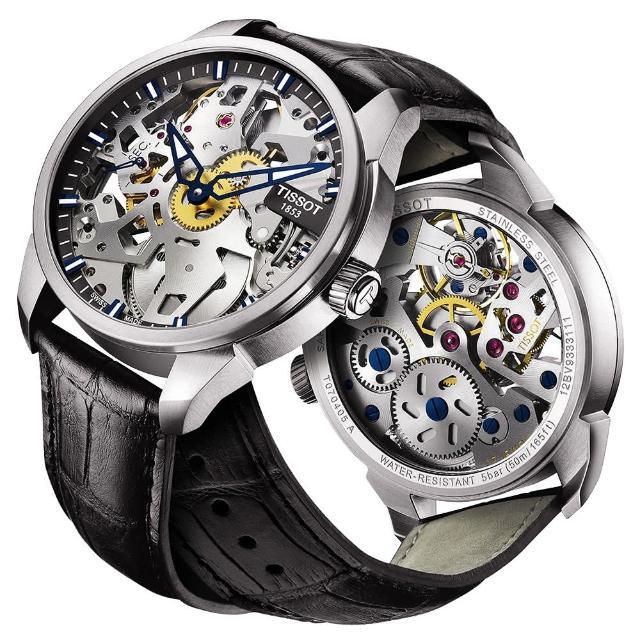 【TISSOT 天梭】T-Classic 鏤空手動上鍊腕錶(T0704051641100)