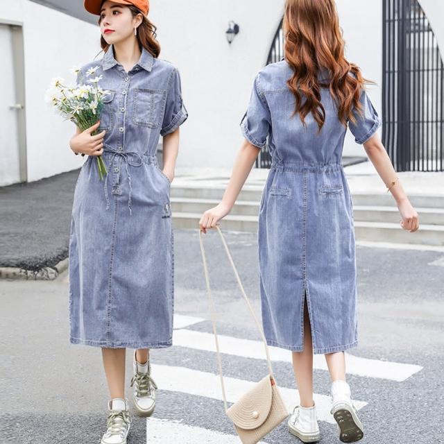 【Alishia】夏裝新款小雛菊刺繡連衣裙 M-2XL(現+預 藍色)